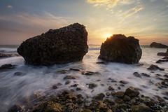 Two rocks on Tsi-San Sunset beach. (Kuanying Fu) Tags: sunset taiwan summer 2018 landscapes seascape beach cityside july outdoor