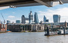 London - The City (Keith in Exeter) Tags: london city squaremile capital business skyscraper building architecture millennium bridge river thames water crane cityscape england police launch iconic walkietalkie cheesegrater sky skyline boat pier