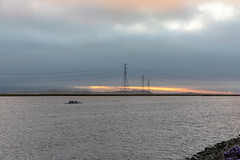 Summer Solstice Sunrise (Jill Clardy) Tags: bay california northamerica power redwoodcity solstice usa clouds cloudy dawn day longest pylons sea slough summer sunrise water 201806219l8a5206 rowing rowers scull rowboat westpoint 365the2018edition 3652018 day172365 21jun18