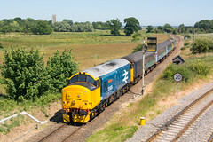37409 Reedham 30/06/18 - 37409 passes the large crowd at Mill Road, Reedham on 2C61. With no booked runs during the week via Berney Arms, the summer Saturday runs are normally the only opportunity to get this shot. (rhayward92) Tags: drs direct rail services br large logo british greateranglia 37409 2c61