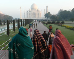 three indian ladies admiring taj mahal (kexi) Tags: agra india asia uttarpradesh tajmahal ancient tomb monument love people women 3 three tourists visitors domes famous worldfamous history samsung wb690 february 2017 perspective instantfave