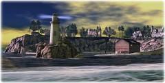 I Am Lighthouse (Loegan Magic) Tags: secondlife solexistence lighthouse ocean shore buildings beach boats rocks cliffs sky