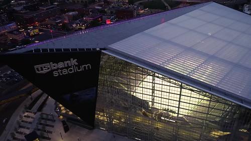 US Bank Stadium - Aerial View at Dusk