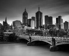 Melbourne Long Exposure B&W (Sean Greenland) Tags: melbourne city cityscape black white blackandwhite landscape bridge water sky
