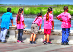 On the Front Line ... (daystar297) Tags: streetportrait kids children kid boys girls students group play water fortpiercefl florida treasurecoast fortpierce marina colors nikon people