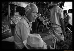 Oooh! (FimRay) Tags: blackandwhite bw monotone monochrome street streetphotography traditionalstreet thailand thai asian asia people older man funny humour humor humorous