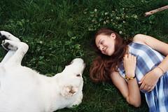 love (Lena Kanshyna) Tags: love girl animal dog 35mm 35mmphotography film filmphoto analog analogue summer sunny bear white grass lying smile ukraine outdoor young kanshyna kyiv kodakgold kiev olympus olympusmju2 mju2