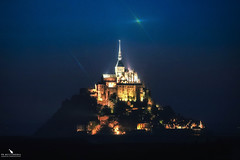 Mont Saint-Michel by Night (pbmultimedia5) Tags: mont saint michel archangel michael france normandy building church monastery pbmultimedia wall grass tree city park sky road light stars