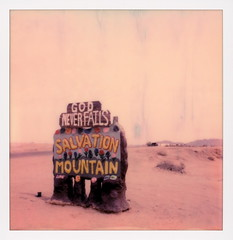 Salvation Mountain Sign (tobysx70) Tags: polaroid originals color 600 instant film slr680 salvation mountain sign beal road niland imperial county california ca folk art shrine christian god nerver fails love flowers adobe straw paint mountains leonard knight mojave desert polaroadtrip polawalk 030718 toby hancock photography