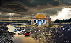 Bleu - Blanc - Rouge (Jean-Michel Priaux) Tags: maison house see savage boat barque seul lonesome lonely lost terrific tempest weather photoshop paint painting mattepainting matte paintmapping priaux scary scare scarry flash france colors storm thunder