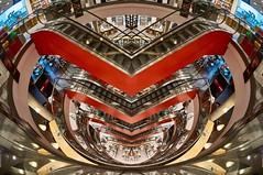 Kö (Froschkönig Photos) Tags: mayersche buchhandlung mayerschebuchhandlung kö königsallee düsseldorf nex5r sel16f28 vclecf1 fisheye fischauge rolltreppe rot red