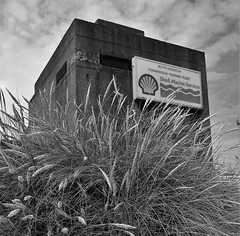 solid (Mr Ian Lamb 2) Tags: pillbox concrete exdo extendeddefenceofficerpost ww11 blyth blythharbour northumberland monochrome bandw shell sign architecture block bunker mono