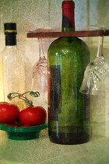 Out of Wine...and olive oil! (Carol (vanhookc)) Tags: wine stilllife tomatoes wineglasses oliveoil theoldgreencuttingboard hss sliderssunday