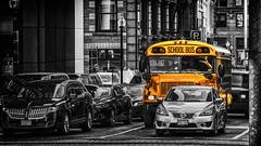 Boston School Bus (Patrik S.) Tags: school bus boston usa downtown bw yellow blackandwhite black white traffic streets cars waiting jam stau auto schwarzweiss schulbus gelb sw schwarz weiss ngc
