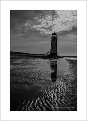 Talacre reflection (prendergasttony) Tags: ladder door ocean sky bay river sand steps window rocks water dee estuary nikon tonyprendergast talacre flint lighthouse bw reflection clouds summer beach monochrome light d7200