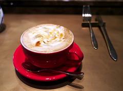 Caramel Latte (Long Sleeper) Tags: drink cafe patisseriechocolatbardelimmo caramellatte whippedcream caramelsauce cup spoon red mejiro tokyo japan dmcgx1