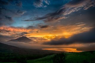 Summer Fuji sunset scenery