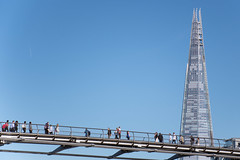 Up and over (marktmcn) Tags: london millenium footbridge suspension bridge across river thames designers arup group foster partners anthony caro shard tower architect renzo piano d7500 people crossing suspended blue sky