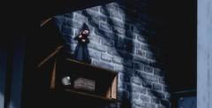 Little Ninja (Loegan Magic) Tags: secondlife baieysnorge ninja wall shadows helmet shelves dark night brick clock toy figure ornament