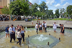 Newly become pharmacist in the fountain ! (misi212) Tags: pharmacist fountain wet dresses