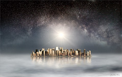 The new world (Jean-Michel Priaux) Tags: anotherworld space mist myst surreal unreal sky stars mystic milkyway megapole city painting paint paintmapping paintingmatte mattepainting sun lost exploration photoshop alone civilisation center