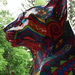 "Head profile of ""Radiant Cat"" sculpture (by Claudia DeLong) outside the Durango Herald Building, Durango, Colorado thumbnail"