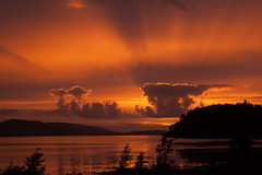 pess1906 (Tel_G) Tags: sunset clouds water trees loch lake rays sun landscape highlands scottish scottishhighlands poolewe scotland canon sigma 2470 eos50d eos 50d sky orange
