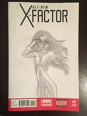 Jean Grey as Marvel Girl by my awesome 11 year old cousin Julia.  😍 (Comic Con Culture) Tags: marvelgirl jeangrey phoenix sketch art originalart blankcover xfactor allnewxfactor 1 blankcoversketch variant marvel