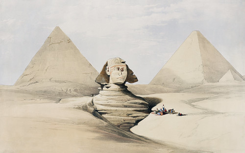 The Great Sphinx Pyramids of Gizeh (Giza) illustration by David Roberts (1796-1864).