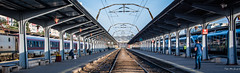 2018 - Romania - Bucharest - Gara de Nord (Ted's photos - For Me & You) Tags: 2018 brașov cropped nikon nikond750 nikonfx romania tedmcgrath tedsphotos vignetting garadenord bucurestigaradenord bucharest bucharestromania bucurestiromania traintracks trainstation wideangle widescreen platform tracks rails railroad railway seating seats denim denimjeans