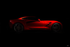 In The Dark (Brad Hartig) Tags: 2015 corvette stingray 3lt c7 red dark night strobe lines hot nikon tamron