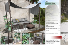 Sway's [Elodie] Set | TLC (Sway Dench / Sway's) Tags: tlc sl vr sways furniture tropical monstera canopy sofa bench pouf pillows table candle seashell outdoor