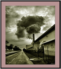 Nikon steam1 (agphoto100) Tags: nikon steam cloud sky overcast rain building industrial brisbane chimney e5000 sepia bw road roadway bitumen fence tall round dark convergence atomsphere flickr mono coolpix