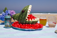 Return of Watermelon Shark (brucetopher) Tags: beach watermelon shark sculpture teeth bite eat fruit delicious fresh eye eyes creative display beer wine hellorhighwatermelon 1tamendmentbrewingco wheatbeer water sea ocean vacation holiday sunshine outdoors hydrangea flower flowers picnic sand hungry greatwhiteshark whiteshark atlantic bay breakers wave waves surf shore seashore coast coastal seacoast rose