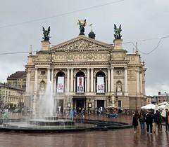 Ukraine (Lviv) Opera building (ustung) Tags: fountain landsmark rain place architecture building opera lviv ukraine