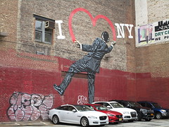 I Love NY or I Heart NY Graffiti Mural Art 2018 NYC 5320 (Brechtbug) Tags: i love ny street art graffiti by nick walker midtown west side manhattan broadway 2018 nyc july 07152018 new york city parking lot heart painting wall man back view derby hat striped suit balancing one foot artist ukbased called vandal 17th 6th ave avenue st