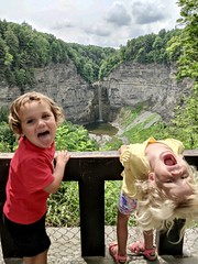 Amber takes the twins to visit the 215 foot high Taughannock Falls today (dionhinchcliffe) Tags: moblog iphonepics