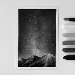 Starry Night (A-Ling Chin) Tags: drawing blackwhite starrynight pastel painting landscape art