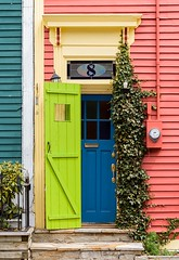 Open and Shut (Karen_Chappell) Tags: door doors house nfld stjohns downtown city urban wood wooden paint painted clapboard jellybeanrow green blue red yellow trim rowhouse canada atlanticcanada avalonpeninsula eastcoast architecture building colourful colours colour color