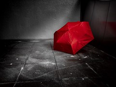 My Red Umbrella - In The Underground (wowafo) Tags: underground red untergrund colorkey umbrella iphone 6s roter schirm
