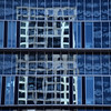 Two Buildings (YIP2) Tags: blue window windows facade abstract minimal minimalism simple less line linea detail pattern diagonal geometry design architecture building repetition reflection square