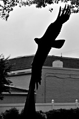 Freedom Silhouette (Throwingbull) Tags: upper marlboro md maryland incorporated town city municipality municipal prince georges county freedom statue art sculpture john neal mullican silhouette black white monochrome