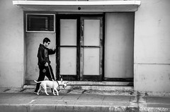 1216PM (www.karltonhuberphotography.com) Tags: 2018 california citystreets dog downtown dude grungy karltonhuber man outdoors peoplewatching santaana sidewalk southerncalifornia streetphotography streetscene walking