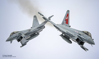 Two Typhoon FGR4 aircraft, flown by 29 (R) Squadron from RAF Coningsby