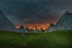 DSJ_0356-2 (labels_30) Tags: sunset evening muttartconservatory edmonton pyramids cityscape skyling