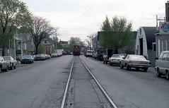 Milwaukee Road on Lakewood 4-29-86 12 (jsmatlak) Tags: chicago milwaukee road lakewood ce freight railroad train engine switcher street trackage industrial