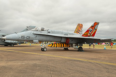 C15-14 (15-01) McDonnell Douglas EF-18M Hornet Spanish Air Force Tiger Colours RAF Fairford RIAT 16th July 2017 (michael_hibbins) Tags: c1514 1501 mcdonnell douglas ef18m hornet spanish air force tiger colours raf fairford riat 16th july 2017 aircraft aviation aeroplane aerospace airplane airshow airfields military fighter tactical strategic trainer defence