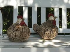 Hühnerbank (Sockenhummel) Tags: huhn hühner bank bench figuren keramik garten wahlsdorf kreativbude iphone