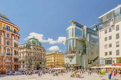 The Stephansplatz (a7m2) Tags: austria vienna stephansplatz zentrum city shopping travel culture history tourismus haashaus stockimeisen kärntnerstrase graben stephansdom architektur hanshollein