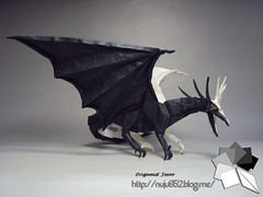 Ancient Dragon (Rydos) Tags: paper origami art hanji koreanpaper korean origamist koreanorigamist paperfold fold folding paperfolding designed design model papermodel korea origamilst kamiya satoshi kamiyasatoshi double color ancient dragon doublecolor ancientdragon red blue black white